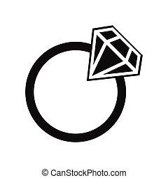 prosty, ring, ślub