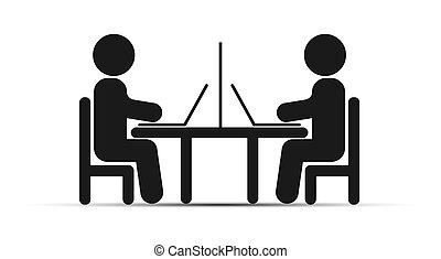 prosty, rysunek, dwa ludzi, z, laptopy, posiedzenie na stole