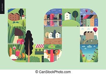 prosty, rzeczy, -, skład, domy