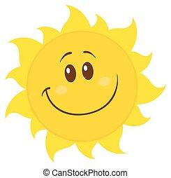 prosty, słońce, uśmiechanie się, żółty