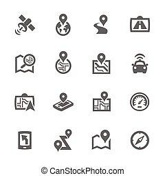 prosty, satelitarna nawigacja, ikony