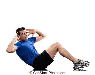 prosty, skręcony, skośny, jeden, najmuje, brzuszny, tło., początek, inny, neither, postawa, abdominals, noga, trening, dotykanie, ruch obrotowy, biały, człowiek, to, muscles., floo, ruch