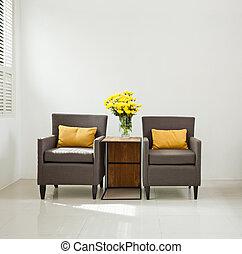 prosty, sofa, zmontowanie, szary, fotel