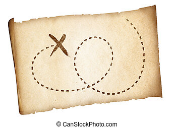 prosty, stary, skarb, piraci, mapa, z, znaczony, ścieżka, i,...