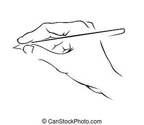prosty, symbol, wręczać pisanie
