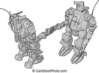 prosty, szary, ilustracja, roboty, wektor, dwa ręki, potrząsanie