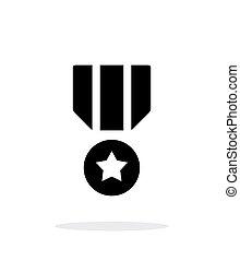 prosty, tło., wojskowy, biały, medal, ikona