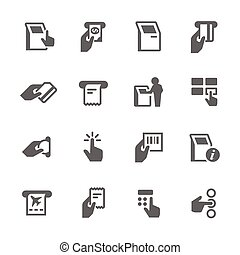 prosty, terminal, kiosk, ikony