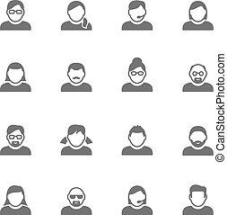 prosty, users., ikony