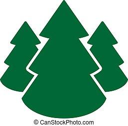 prosty, wektor, drzewa, boże narodzenie, ikona, projektować, symbol