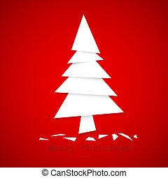 prosty, wektor, drzewo, papier, boże narodzenie