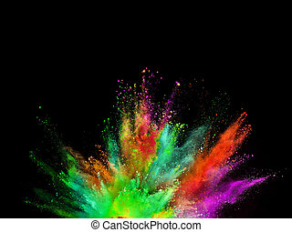 proszek, tło., wybuch, barwny, czarnoskóry