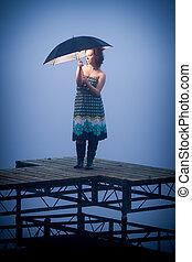 protège, froid, parapluie, jour