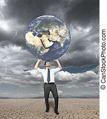 protège, mondiale, homme affaires