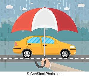 protège, voiture., parapluie, main