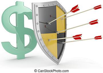 protéger, bouclier, argent, sûr, dollar, nous, sécurité
