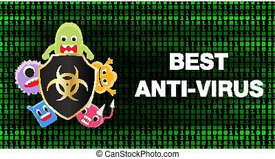 protéger, bouclier, virus., virus, anti, données, mieux