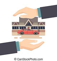 protéger, business, concept., argent., maison, vecteur, voiture, propriété, assurance