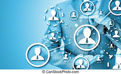 protéger, concept, connexion, social