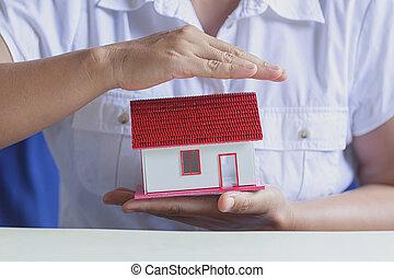 protéger, concept, house., protection, insurance., propriété, ton
