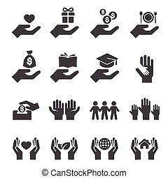 protéger, donner, icône