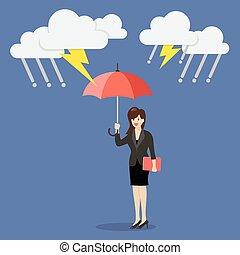 protéger, femme, parapluie, orage, business