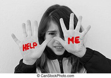 protéger, figure, girl, jeune, être, elle, intimidé, mains