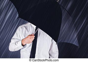 protéger, parapluie noir, pluie, homme affaires