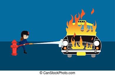 protéger, pompier, voiture brûlée