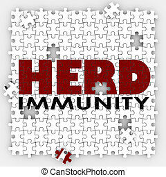 protéger, puzzle, communauté, troupeau, société, vaccin, immunity