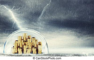 protéger, savings., concept, de, assurance, et, argent, protection., 3d, rendre