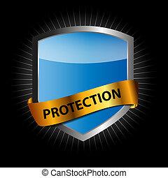 protéger, vecteur, bouclier, illustration