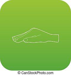 protéger, vecteur, vert, main, icône