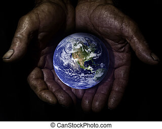 protéger, vieux, globe, deux mains, la terre