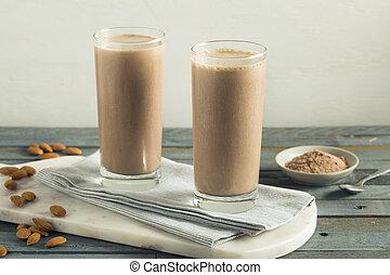 protéine, chocolat, fait maison, sain, secousse