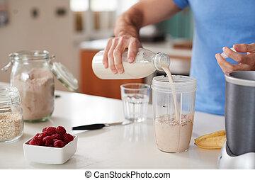 protéine, exercice, maison, haut, confection, homme, après, secousse, fin