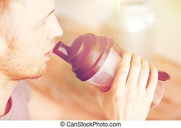 protéine, haut, boire, secousse, homme, fin