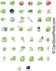 protón, iconos de la tela, -, verde, dulce, edición