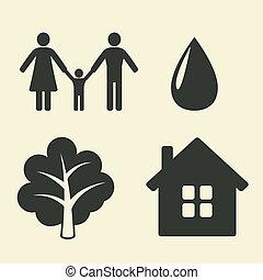 proteção ambiente, ícones