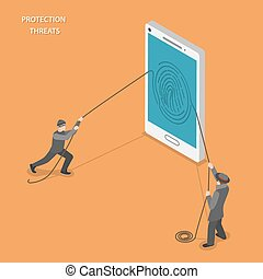 proteção, ameaças, isometric, apartamento, vetorial, concept.