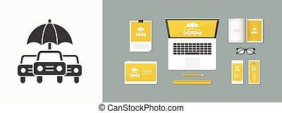 Proteção,  car,  -, vetorial, mínimo, ícone