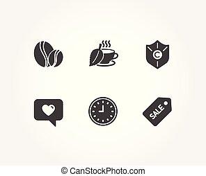 proteção copyright, amor, mensagem, e, chá mint, icons., relógio, feijões café, e, venda, bilhete, signs.