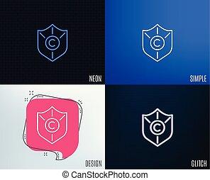 proteção copyright, icon., copywriting, sinal.