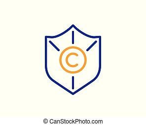 proteção copyright, icon., copywriting, sinal., vetorial