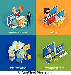 proteção dados, ícones conceito, jogo