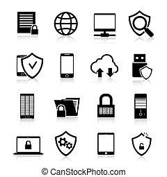 proteção, dados, ícones