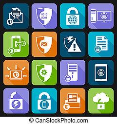 proteção dados, segurança, ícones