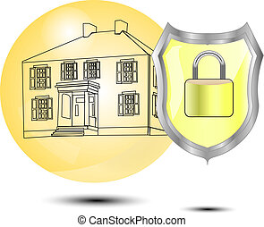proteção, de, um, casa, protetor