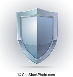 proteção, emblema, escudo, em branco