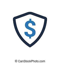 proteção, financeiro, ícone